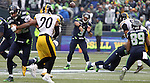 Seattle Seahawks quarterback Russell Wilson (3) passes to wide receiver Doug Baldwin (89) during their game against the Pittsburgh Steelers  at CenturyLink Field in Seattle, Washington on November 29, 2015.  The Seahawks beat the Steelers 39-30.      ©2015. Jim Bryant Photo. All Rights Reserved.