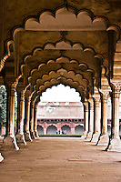 Passageway with arched columns in Red Fort of Agra, a UNESCO World Heritage site.  The Shah Jahan and other great Mughals governed from here.<br /> (Photo by Matt Considine - Images of Asia Collection)