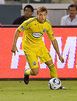 Columbus Crew midfielder Robbie Rogers (18) moves with the ball. CD Chivas USA defeated the Columbus Crew 3-1 at Home Depot Center stadium in Carson, California on Saturday July 31, 2010.