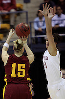 BERKELEY, CA - MARCH 30: Jillian Harmon closes out on an Iowa State guard during Stanford's 74-53 win against the Iowa State Cyclones on March 30, 2009 at Haas Pavilion in Berkeley, California.