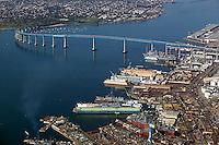 aerial photograph General Dynamics NASSCO ship construction yard Port of San Diego and Coronado Bridge California