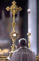 Pope Francis  during a Corpus Domini procession between the basilicas San Giovanni in Laterano and Santa Maria Maggiore on in Rome.19 june 2014