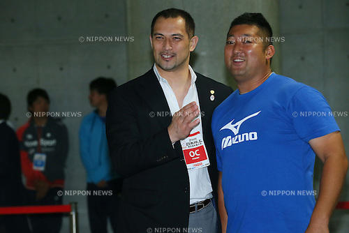(L to R) <br /> Koji Murofushi, <br /> Satoshi Hatase, <br /> JUNE 28, 2015 - Athletics : <br /> The 99th Japan Track &amp; Field National Championships <br /> Men's Shot Put <br /> at Denka Big Swan Stadium, Niigata, Japan. <br /> (Photo by YUTAKA/AFLO SPORT)