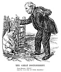 """The Great Postponement. Prime minister. """"Trust!"""" Irish pig. """"I'm fed up with trusting."""""""