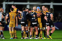 Tempers flare between the Bath and Bristol players. European Rugby Challenge Cup match, between Bath Rugby and Bristol Rugby on October 20, 2016 at the Recreation Ground in Bath, England. Photo by: Patrick Khachfe / Onside Images