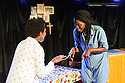 "Edinburgh, UK. 05.08.2016. Clean Break theatre company presents ""House"", by Somalia Seaton, directed by Roisin McBrinn, at Assembly Box, as part of the Edinburgh Festival Fringe. Picture shows: Shvorne Marks, Rebecca Omogbehin. Photograph © Jane Hobson."