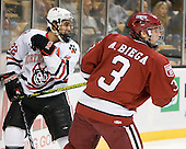 Greg Costa (NU - 22), Alex Biega (Harvard - 3) - The Northeastern University Huskies defeated the Harvard University Crimson 4-1 (EN) on Monday, February 8, 2010, at the TD Garden in Boston, Massachusetts, in the 2010 Beanpot consolation game.