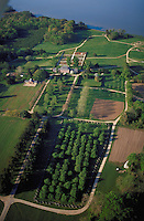 Aerial view of historic Carter's Grove Plantation on the James River It is owned by the Colonial Williamsburg Foundation. This example of 18th Century Georgian architecture is open to the public. Williamsburg Virginia USA James City County, Tidewater.