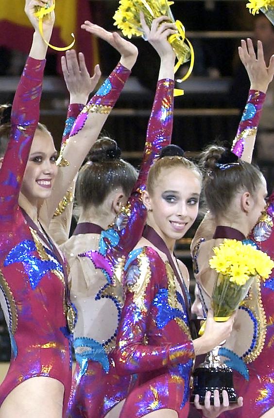 October 19, 2001; Madrid, Spain:  (L-R) ELENA TKACHENKA and INNA ZHUKOVA of Belarus celebrate team silver at 2001 World Championships at Madrid.