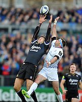 Matt Banahan of Bath Rugby claims the ball in the air. European Rugby Champions Cup match, between Bath Rugby and Leinster Rugby on November 21, 2015 at the Recreation Ground in Bath, England. Photo by: Patrick Khachfe / Onside Images