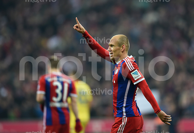 Fussball  1. Bundesliga  Saison 2014/2015  12. SPIELTAG FC Bayern Muenchen - TSG 1899 Hoffenheim     22.11.2014 JUBEL FC Bayern Muenchen; Torschuetze zum 3-0 Arjen Robben