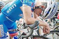 Bjorn Leukemans (BEL/Wanty-GroupeGobert) concentrated before the start<br /> <br /> Gent-Wevelgem 2014