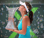 Poland's Agnieszka Radwanska defeats Russia's Maria Sharapova 7-5, 6-4 at Sony Ericsson Open on Key Biscayne on Saturday, March 31, 2012.