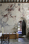 The recently discovered Medieval Mural inside the Church at Llancarfan.<br />