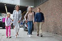 Queen Mathilde of Belgium arrives with her children for 1st day at school - Belgium