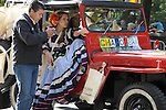"The Hispanic Parade in New York City. A car advertising ""Chapolera"" a Latin Musical drives through the Hispanic Parade in New York City."