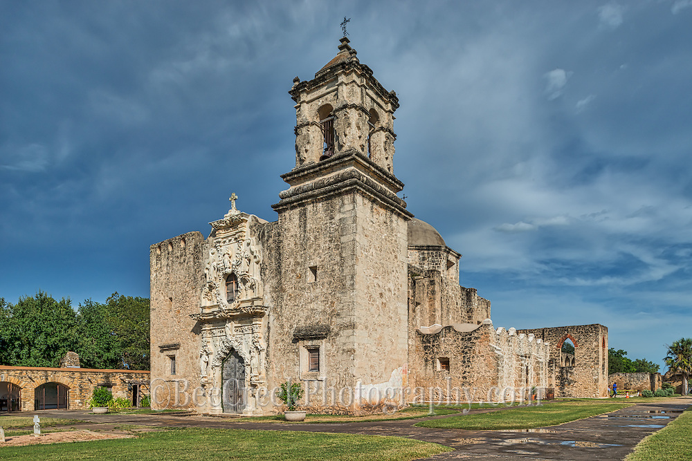 We captured this of the historic Mission San José y San Miguel de Aguayo a Catholic mission in San Antonio, Texas, United States. This one of the many mission built back in the 1700s that have been well preserved and or still functioning as a church today. This historic landmark was a spanish mission community which was design to convert the indians of the area to the catholic religion.  These missions are now part of the world heritage site, along with the San Antonio Missions National historic Park.  These mission are visited by  many tourist and they have become a travel destination for many who visit San Antonio. Watermark will not appear on image