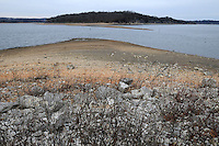 NWA Democrat-Gazette/FLIP PUTTHOFF <br /> The low level of Beaver Lake is seen Jan. 7 2017 at the Arkansas 12 bridge launch ramp. The shoreline will connect with the gravel bar if the lake level reaches 1,105 feet above sea level, as it did in 2006, according to the U.S. Army Corps of Engineers.