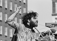 New Haven, CT. May 2nd 1970 Yale University.<br /> Political activist Jerry Rubin speaks to a crowd of Yale students and protesters at Yale University. People from around the US have gathered on the Yale University campus in support of the Black Panther Party while several party leaders, including cofounder Bobby Seale, are on trial. --- Image by &copy; JP Laffont/Sygma/CORBIS