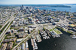 Aerial photo of Seattle's South Lake Union neighborhood, downtown skyline, and waterfront
