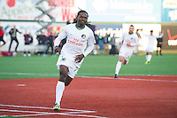 BROOKLYN, NY - Saturday May 02, 2015: Lucky Mkosana scores the one and only game of the match.  The New York Cosmos beat Ottawa Fury FC 1-0 at a special guest stadium, MCU Park, home of the Brooklyn Cyclones single A baseball on Coney Island in Brooklyn, New York in regular season NASL play.