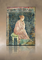 Roman fresco wall painting of a women thinking from the Villa Arianna (Adriana), Stabiae (Stabia) near Pompeii , inv 9097, Naples National Archaeological Museum , art background