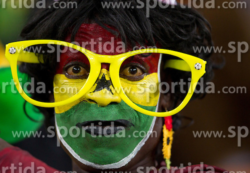 Fan of Ghana prior to the 2010 FIFA World Cup South Africa Quarter Finals football match between Uruguay and Ghana on July 02, 2010 at Soccer City Stadium in Sowetto, suburb of Johannesburg. Uruguay defeated Ghana after penalty shots. (Photo by Vid Ponikvar / Sportida)