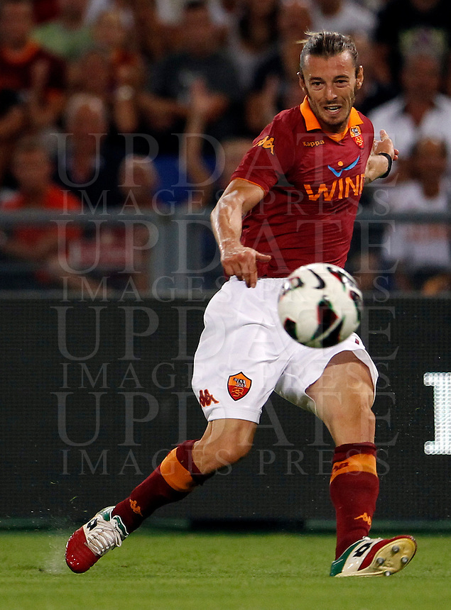 Calcio: partita amichevole Roma-Aris Salonicco. Roma, stadio Olimpico, 19 agosto 2012..AS Roma defender Federico Balzaretti in action during a football friendly match between AS Roma and Aris Thessaloniki, at Rome, Olympic stadium, 19 August 2012..UPDATE IMAGES PRESS/Isabella Bonotto