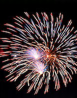 FIREWORKS<br /> An Exothermic Reaction<br /> The red, blue &amp; yellow colors are produced by salts of strontium, copper &amp; sodium respectively.