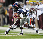 Mississippi wide receiver Ja-Mes Logan (85) is tackled by Texas A&amp;M defensive back Tramain Jacobs (7) in Oxford, Miss. on Saturday, October 6, 2012. (AP Photo/Oxford Eagle, Bruce Newman)..