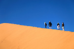 Africa, Namibia, Sossusvlei. Hikers on Dune at Sossusvlei.