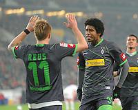 FUSSBALL   1. BUNDESLIGA  SAISON 2011/2012   19. Spieltag   29.01.2012 VfB Stuttgart - Borussia Moenchengladbach    JUBEL Borussia Moenchengladbach; Dante (re) und  Torschuetze zum 0-2 Marco Reus