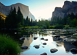 California, Yosemite. Morning light and reflections in the Merced River.