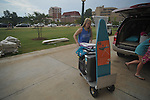 Annelise Albert (left), with her sister Mary Linley, moves items into a dorm at the University of Mississippi in Oxford, Miss. on Wednesday, August 17, 2011. Students have begun moving in for the fall semester of classes, which begin Monday, August 22, 2011.