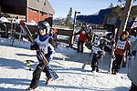 Davis High School Ski Team heads to practice at Northstar ski resort on Lake Tahoe, CA
