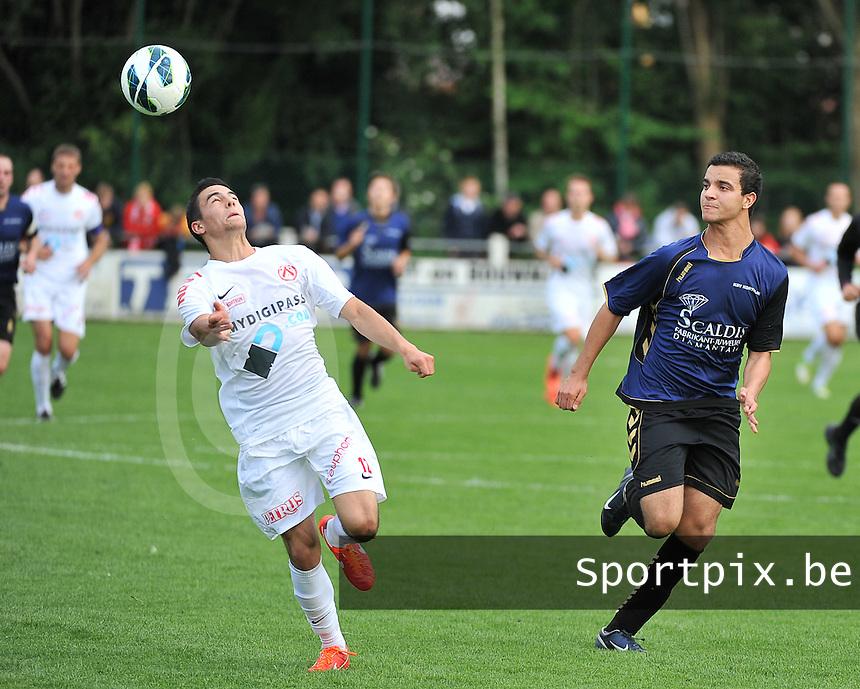 KV Kortrijk - SV Kortrijk : Gregory Mahau aan de bal voor Nabil Souhail (rechts)<br /> foto VDB / Bart Vandenbroucke