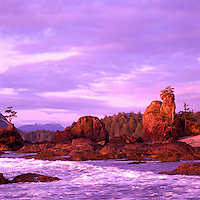 Rugged Coastline of Spring Island along Pacific West Coast of Vancouver Island, BC, British Columbia, Canada - Sunset