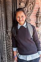 Nepal, Patan, Durbar Square.  Young Newari Girl, Age 18.