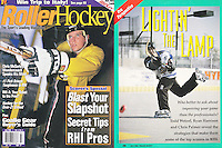 1996: July Roller Hockey Magazine tearsheet. Neil taking a shot at the net in a pro article.