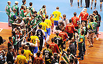 Fussball  International  FIFA  FUTSAL WM 2008   19.10.2008 Finale Brasil - Spain Brasilien - Spanien Die Mannschaften betreten das Spielfeld