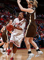Ohio State Buckeyes guard Ameryst Alston (14) looks for room against Lehigh Mountain Hawks forward Lindsay Hoskins (15) during the first half of the NCAA women's basketball game at Value City Arena on Wednesday, November 27, 2013. (Columbus Dispatch photo by Jonathan Quilter)