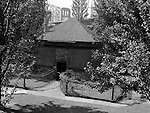Pittsburgh PA:  Originally built in 1764, the Blockhouse was renovated with support from the Daughters of the American Revolution. The Blockhouse is part of Point State Park and open to the public. On location assignment for AG Trimble Company - 1948.