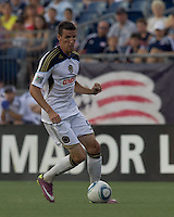 Philadelphia Union forward Sebastien Le Toux (9) at midfield. In a Major League Soccer (MLS) match, the Philadelphia Union defeated the New England Revolution, 3-0, at Gillette Stadium on July 17, 2011.