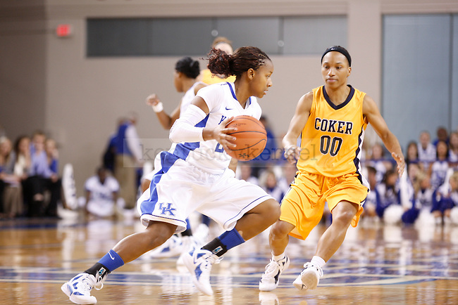 Sophomore guard Maegan Conwright dribbles the ball during the second half of UK Women's Basketball game against Coker College at Memorial Coliseum in Lexington, Ky., on Sunday, Nov. 6, 2011. Photo by Tessa Lighty   Staff