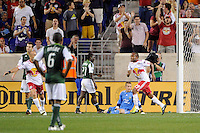 Dane Richards (19) of the New York Red Bulls celebrates scoring during a Major League Soccer (MLS) match against the Portland Timbers at Red Bull Arena in Harrison, NJ, on September 24, 2011.