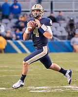 Pitt quarterback Nate Peterman. The Pitt Panthers football team defeated the Louisville Cardinals 45-34 on Saturday, November 21, 2015 at Heinz Field, Pittsburgh, Pennsylvania.
