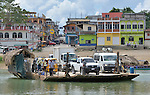 A ferry crosses the Rio de la Pasion (Passion River) at Sayaxche in Guatemala's Peten region.