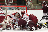 Raphael Girard (Harvard - 30), Darcy Murphy (Colgate - 15), Dan Ford (Harvard - 5), John Lidgett (Colgate - 14) - The Harvard University Crimson defeated the Colgate University Raiders 4-1 (EN) on Friday, February 15, 2013, at the Bright Hockey Center in Cambridge, Massachusetts.