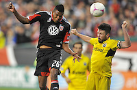 D.C. United forward Lionar Pajoy (26) heads the ball against Columbus Crew defender Danny O'Rourke (5)  D.C. United defeated The Columbus Crew 3-2 at RFK Stadium, Saturday October 20, 2012.