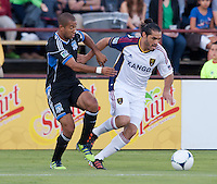 Santa Clara, California - Saturday July 14, 2012: Real Salt Lake's Fabian Espindola and San Jose Earthquakes' at Buck Shaw Stadium, Stanford, Ca     San Jose Earthquakes defeated Real Salt Lake 5 - 0..